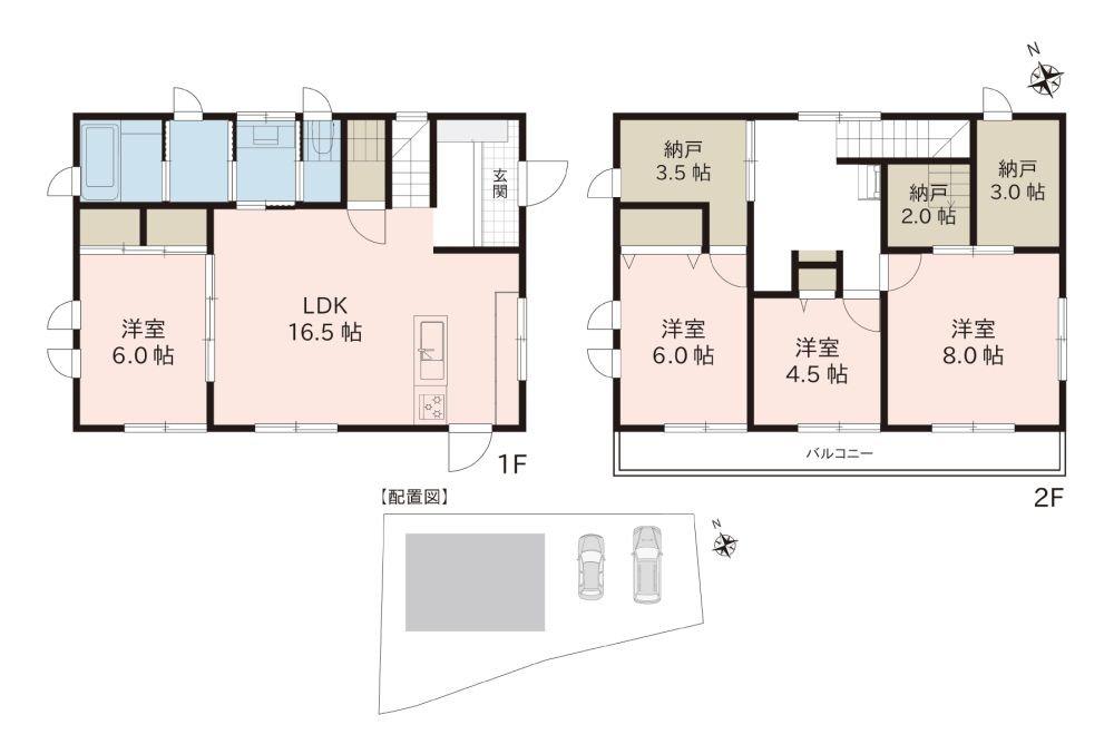間取図 全居室南向きで、心地の良いお住まいです。広々とした納戸もあり収納豊富です。