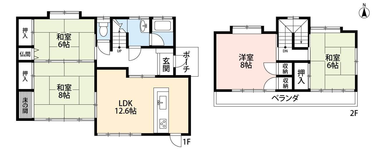 間取図 ファミリーにおすすめの4LDK。全居室6帖以上のゆとり設計です。