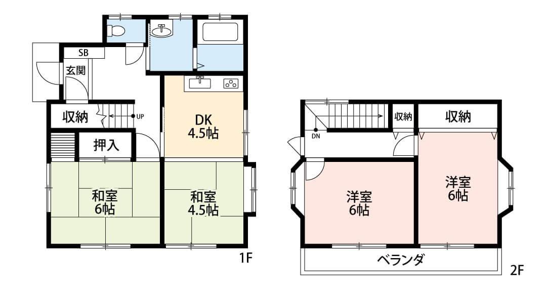 間取図 ファミリーにおすすめの4DK。水まわりが集約された家事動線の良い設計です。