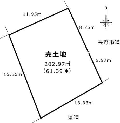 地形図 約61坪のゆとりの敷地です。お庭や駐車スペースもご検討いただけます。